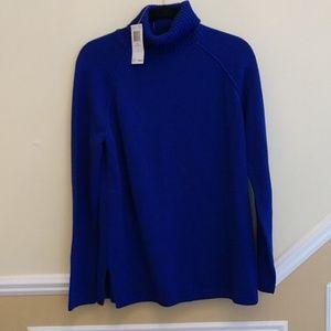 Jeanne Pierre Hyper Blue Cowl Neck Sweater
